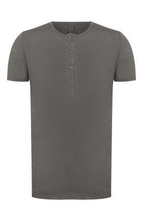 Мужская льняная футболка 120% LINO серого цвета, арт. R0M7672/E908/S00 | Фото 1