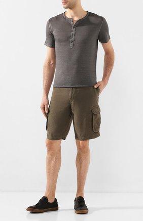Мужская льняная футболка 120% LINO серого цвета, арт. R0M7672/E908/S00 | Фото 2