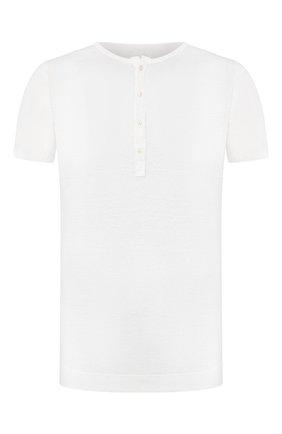 Мужская льняная футболка 120% LINO белого цвета, арт. R0M7672/E908/S00 | Фото 1