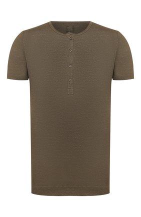 Мужская льняная футболка 120% LINO хаки цвета, арт. R0M7672/E908/S00 | Фото 1