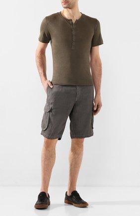 Мужская льняная футболка 120% LINO хаки цвета, арт. R0M7672/E908/S00 | Фото 2