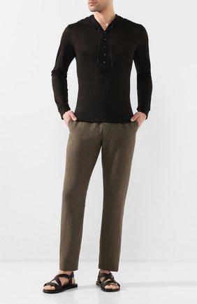 Мужской льняной джемпер 120% LINO черного цвета, арт. R0M7553/E908/S00 | Фото 2