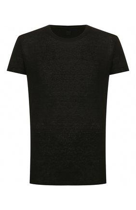Мужская льняная футболка 120% LINO черного цвета, арт. R0M7288/E908/S00 | Фото 1