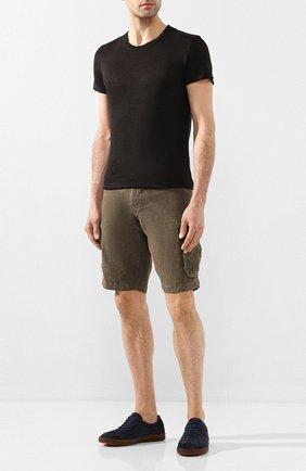 Мужская льняная футболка 120% LINO черного цвета, арт. R0M7288/E908/S00 | Фото 2