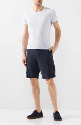 Мужская льняная футболка 120% LINO голубого цвета, арт. R0M7288/E908/S00 | Фото 2