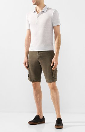 Мужское льняное поло 120% LINO светло-серого цвета, арт. R0M7282/E908/S00 | Фото 2