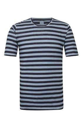 Мужская льняная футболка 120% LINO синего цвета, арт. R0M7186/F781/300 | Фото 1