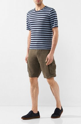 Мужская льняная футболка 120% LINO синего цвета, арт. R0M7186/F781/300 | Фото 2