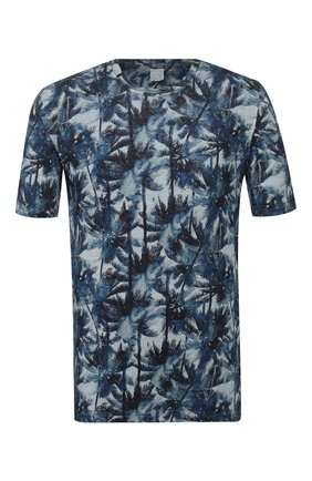 Мужская льняная футболка 120% LINO синего цвета, арт. R0M7186/F779/300 | Фото 1