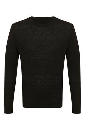 Мужской льняной джемпер 120% LINO черного цвета, арт. R0M70F4/E908/S00 | Фото 1