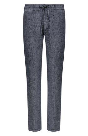 Мужской льняные брюки 120% LINO темно-синего цвета, арт. R0M299M/F806/000 | Фото 1