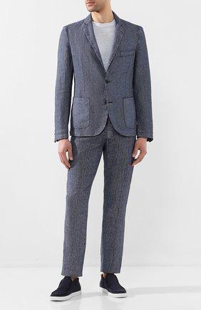 Мужской льняные брюки 120% LINO темно-синего цвета, арт. R0M299M/F806/000 | Фото 2