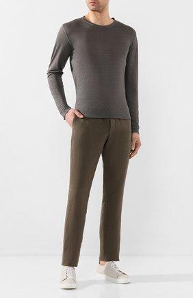 Мужской льняные брюки 120% LINO хаки цвета, арт. R0M299M/0253/000 | Фото 2