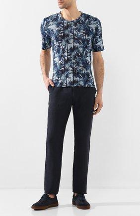 Мужской льняные брюки 120% LINO темно-синего цвета, арт. R0M299M/0253/000 | Фото 2