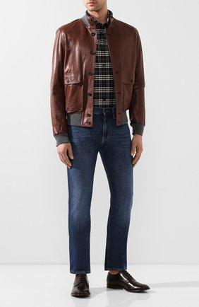 Мужской кожаные дерби DOLCE & GABBANA коричневого цвета, арт. A10553/AX129 | Фото 2