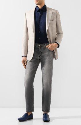 Мужская хлопковая рубашка ZILLI темно-синего цвета, арт. MFT-MERCU-56055/RJ01 | Фото 2
