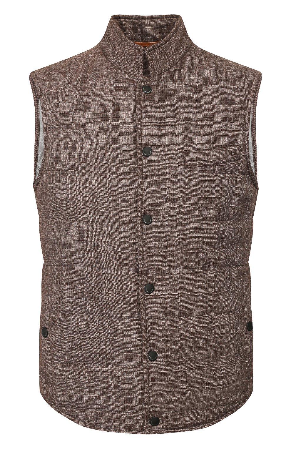 Мужской жилет из смеси льна и шерсти LUCIANO BARBERA коричневого цвета, арт. 108038/17342 | Фото 1