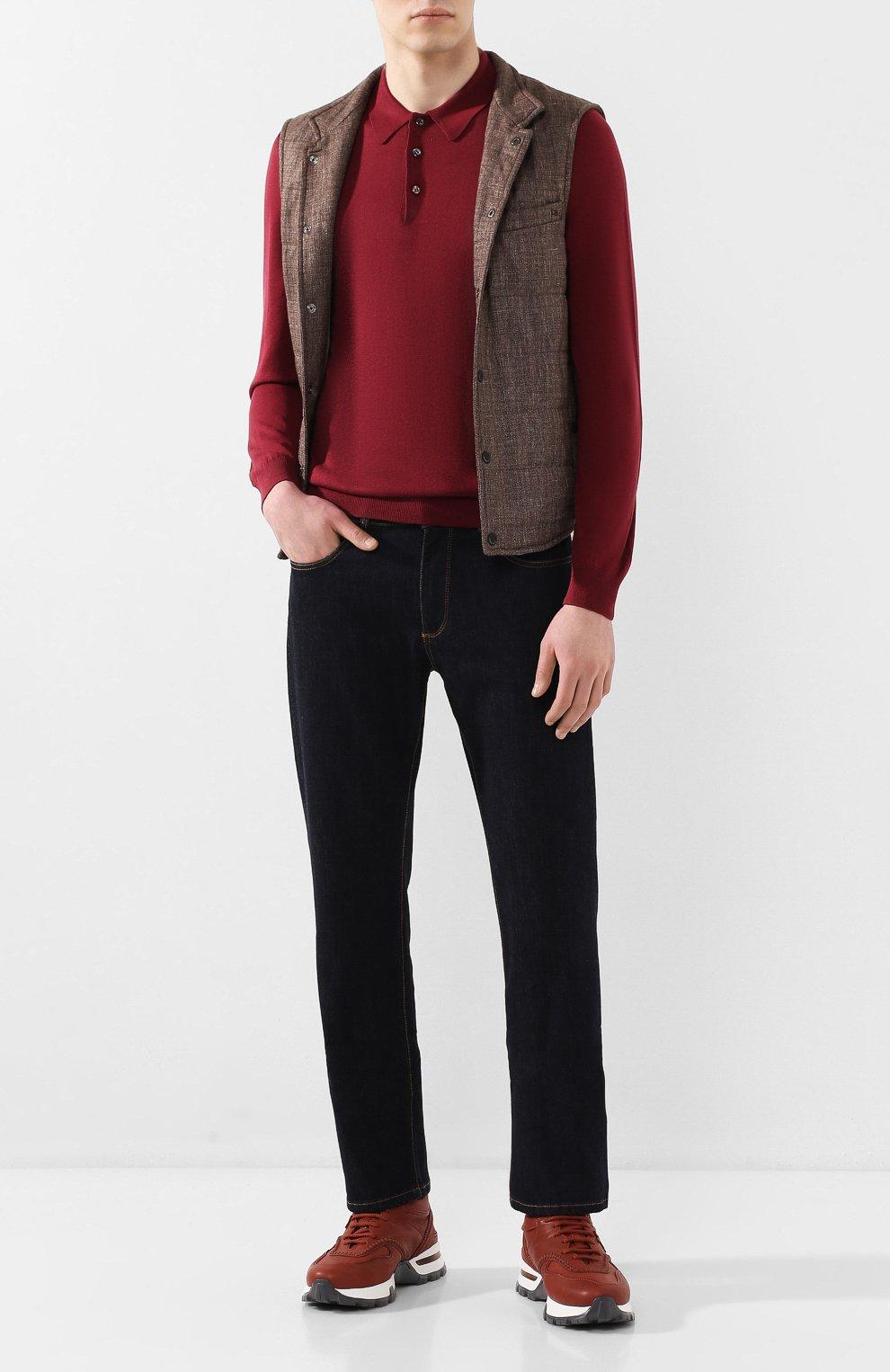 Мужской жилет из смеси льна и шерсти LUCIANO BARBERA коричневого цвета, арт. 108038/17342 | Фото 2