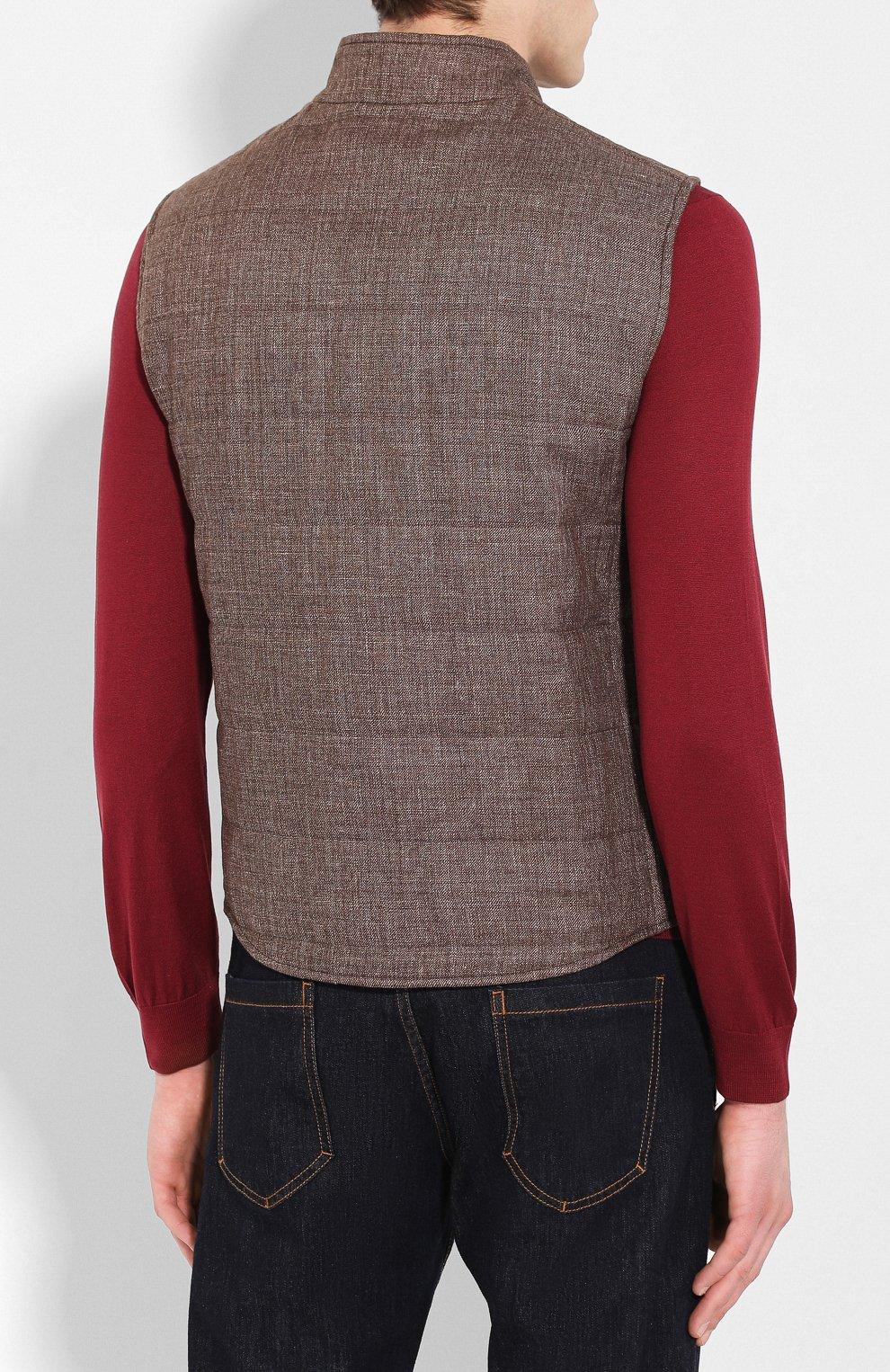Мужской жилет из смеси льна и шерсти LUCIANO BARBERA коричневого цвета, арт. 108038/17342 | Фото 4