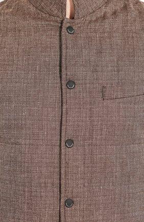 Мужской жилет из смеси льна и шерсти LUCIANO BARBERA коричневого цвета, арт. 108038/17342 | Фото 5