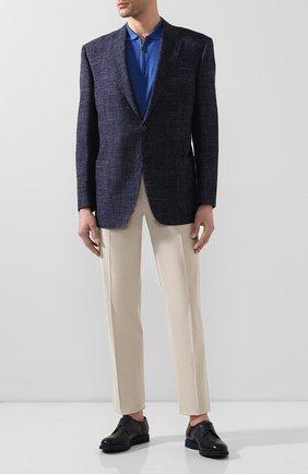 Мужской кожаные дерби DOUCAL'S темно-синего цвета, арт. DU1188P0TEUF155BB03   Фото 2