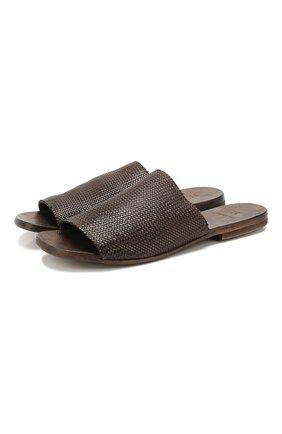 Мужские кожаные шлепанцы MOMA темно-коричневого цвета, арт. 2GS038-IN | Фото 1