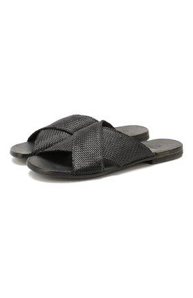 Мужские кожаные шлепанцы MOMA черного цвета, арт. 2GS039-IN   Фото 1