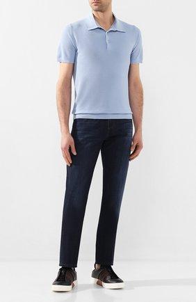 Мужское хлопковое поло CRUCIANI голубого цвета, арт. CU25.403 | Фото 2