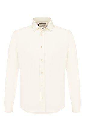 Мужская хлопковая рубашка GUCCI белого цвета, арт. 623239/21131 | Фото 1