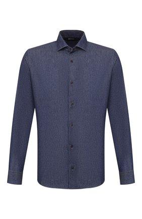 Мужская хлопковая рубашка Z ZEGNA синего цвета, арт. VU225/ZCRF1 | Фото 1 (Длина (для топов): Стандартные; Рукава: Длинные; Материал внешний: Хлопок; Случай: Повседневный; Воротник: Акула; Принт: Однотонные; Мужское Кросс-КТ: Рубашка-одежда; Манжеты: На пуговицах)