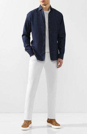Мужская хлопковая рубашка Z ZEGNA синего цвета, арт. VU225/ZCRF1 | Фото 2 (Длина (для топов): Стандартные; Рукава: Длинные; Материал внешний: Хлопок; Случай: Повседневный; Воротник: Акула; Принт: Однотонные; Мужское Кросс-КТ: Рубашка-одежда; Манжеты: На пуговицах)