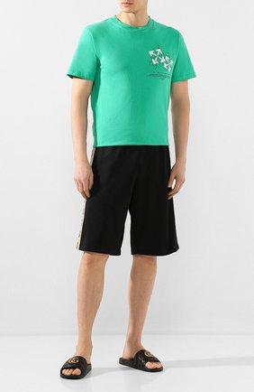 Мужские кожаные шлепанцы GUCCI черного цвета, арт. 603701/0R030 | Фото 2
