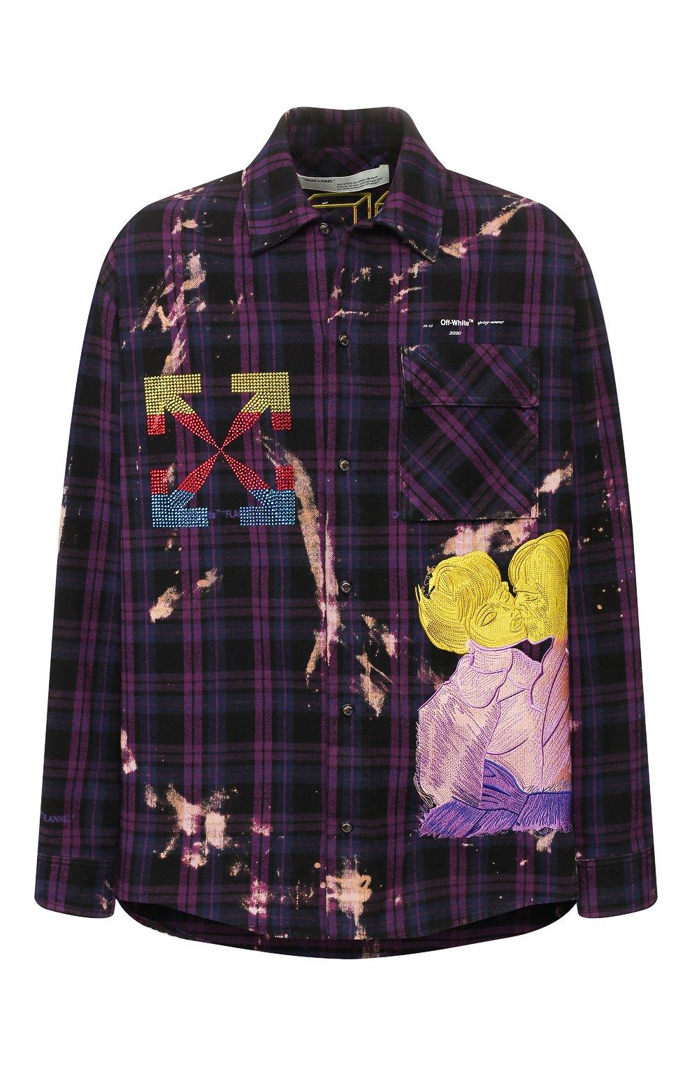 Мужская фиолетовая хлопковая рубашка OFF-WHITE — купить за 99500 руб. в интернет-магазине ЦУМ, арт. 0MGA098S20G710492988