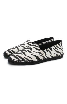 Мужские текстильные эспадрильи SAINT LAURENT черно-белого цвета, арт. 605955/10D10 | Фото 1 (Материал внутренний: Текстиль; Материал внешний: Текстиль)