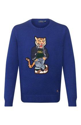 Мужской хлопковый свитер POLO RALPH LAUREN синего цвета, арт. 710786687 | Фото 1