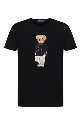 Мужская хлопковая футболка RALPH LAUREN темно-синего цвета, арт. 790786266 | Фото 1