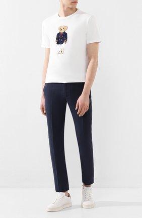 Мужская хлопковая футболка RALPH LAUREN белого цвета, арт. 790786266 | Фото 2