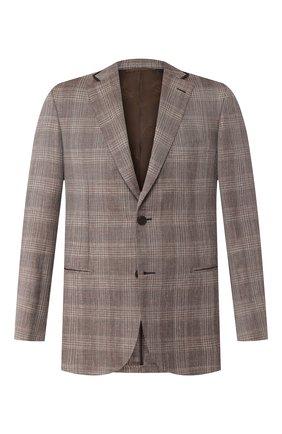 Мужской пиджак из смеси шерсти и шелка BRIONI коричневого цвета, арт. RGKN0L/P9A67/D0R0TE0 | Фото 1