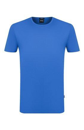 Мужская хлопковая футболка BOSS синего цвета, арт. 50383822 | Фото 1
