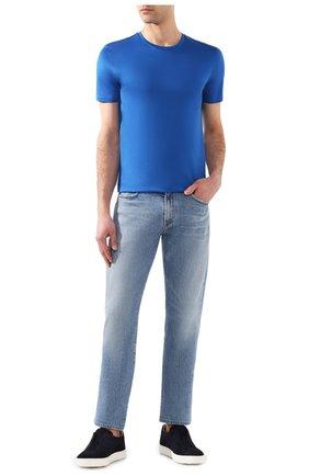 Мужская хлопковая футболка BOSS синего цвета, арт. 50383822 | Фото 2