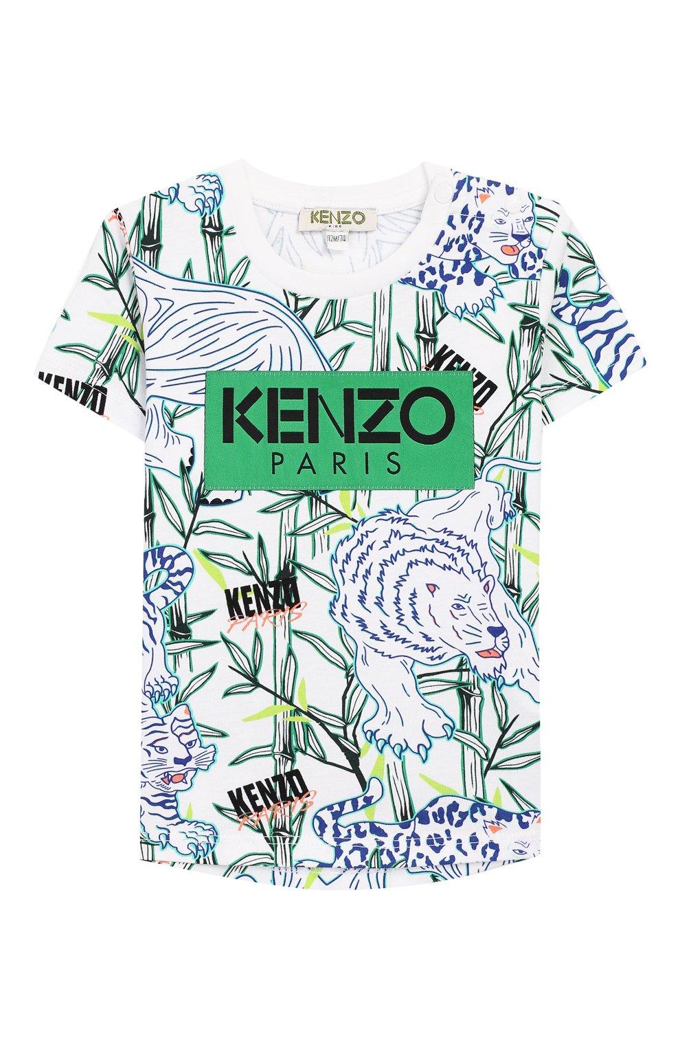 Детский хлопковая футболка KENZO разноцветного цвета, арт. KQ10588-BB | Фото 1