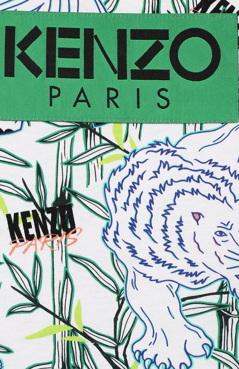 Детский хлопковая футболка KENZO разноцветного цвета, арт. KQ10588-BB | Фото 3