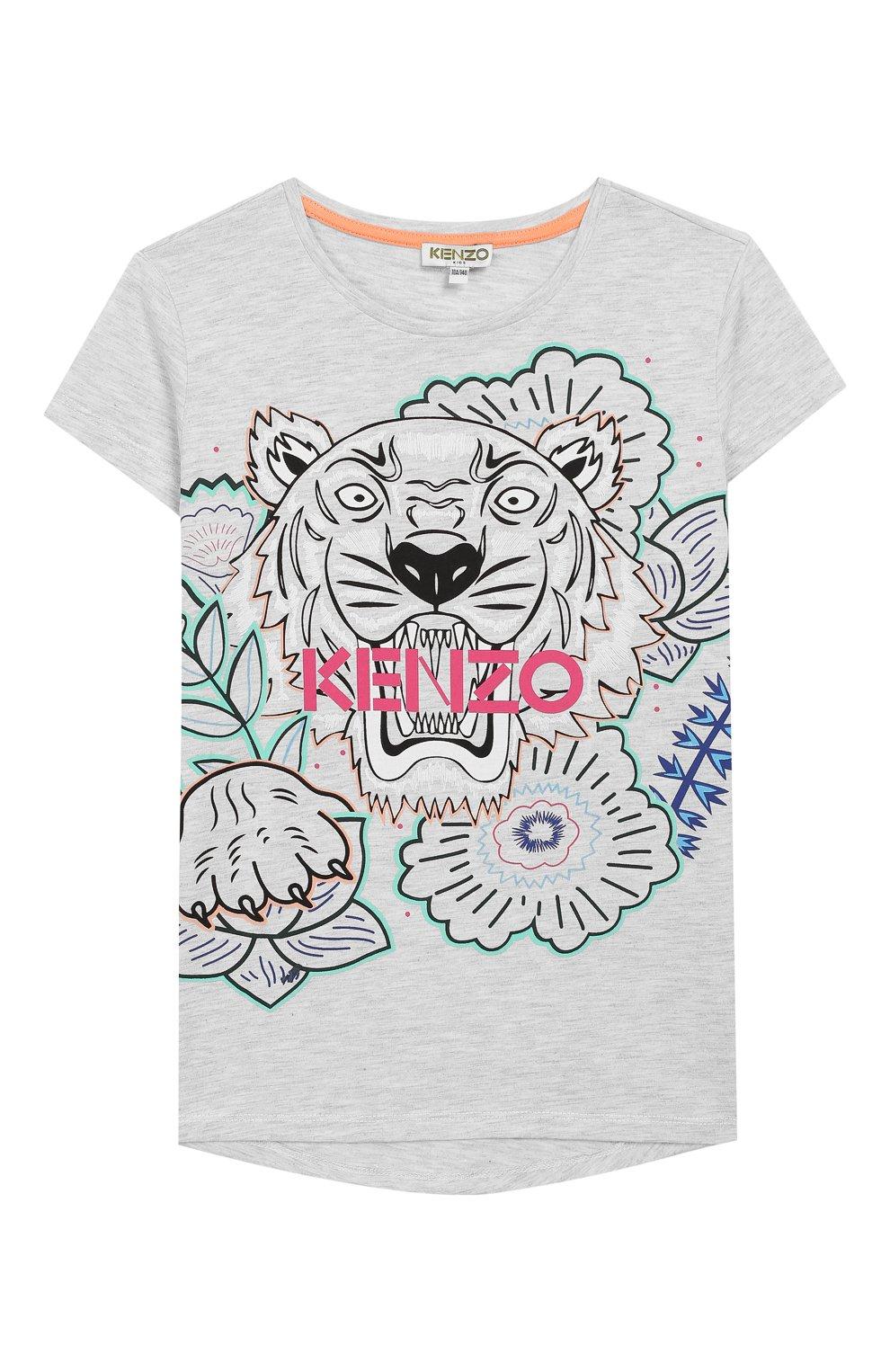 Детская хлопковая футболка KENZO серого цвета, арт. KQ10208 | Фото 1