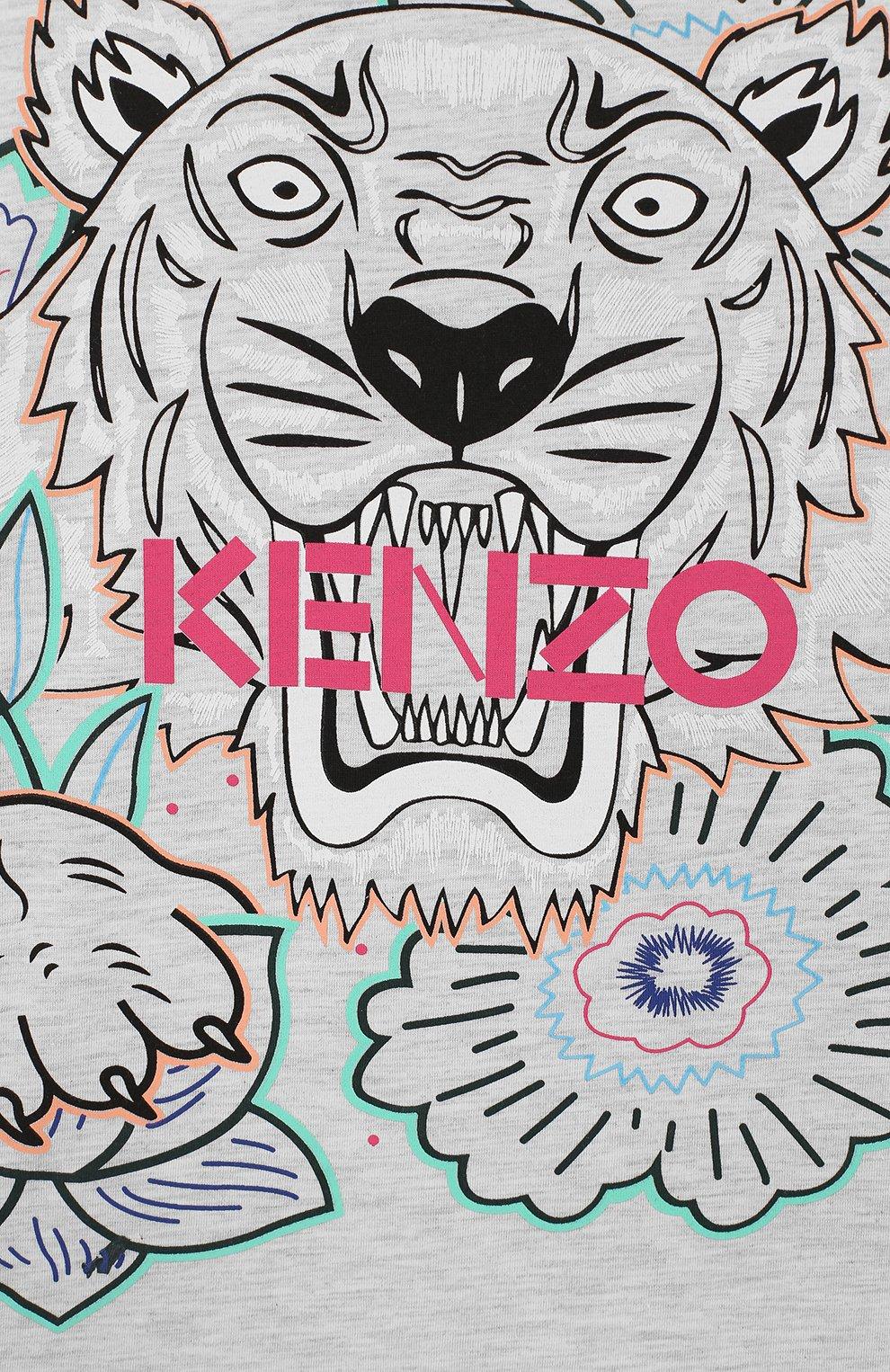 Детская хлопковая футболка KENZO серого цвета, арт. KQ10208 | Фото 3