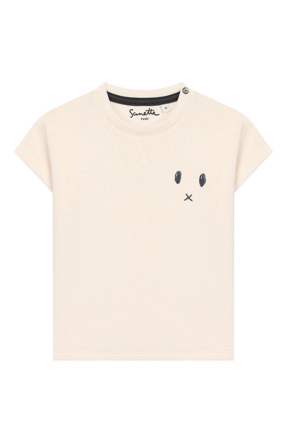 Детский хлопковая футболка SANETTA белого цвета, арт. 10074 18010 | Фото 1