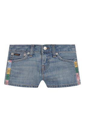Детские джинсовые шорты POLO RALPH LAUREN голубого цвета, арт. 312783742 | Фото 1