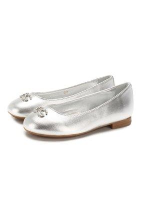 Детские кожаные балетки DOLCE & GABBANA серебряного цвета, арт. D10510/A6C66/24-28 | Фото 1