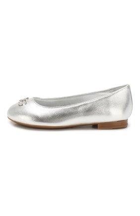 Детские кожаные балетки DOLCE & GABBANA серебряного цвета, арт. D10510/A6C66/24-28 | Фото 2