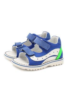 Детские сандалии из текстиля и кожи WALKEY синего цвета, арт. Y1B2-40269-0659 | Фото 1