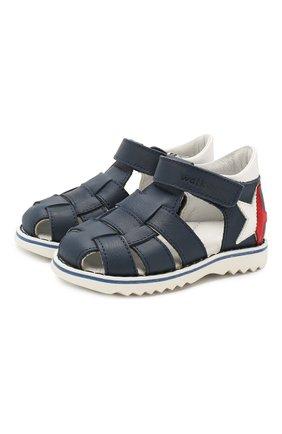 Детские кожаные сандалии WALKEY синего цвета, арт. Y1B4-40664-0092 | Фото 1